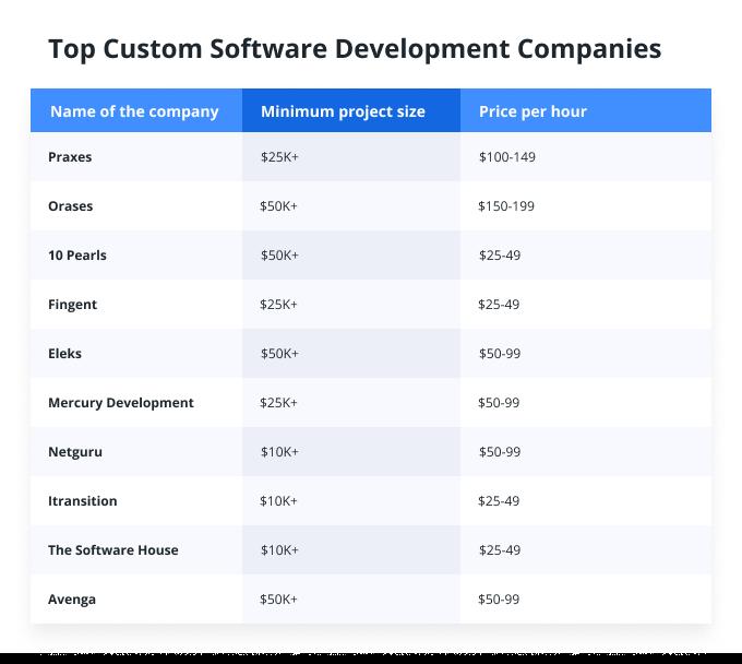 Top Custom Software Development Companies